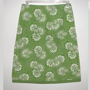 Boden Green and White Floral Skirt